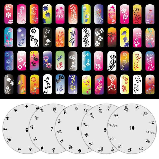 5 page airbrush nail art stencil 65 designs total w display sheet picture 1 of 1 prinsesfo Gallery