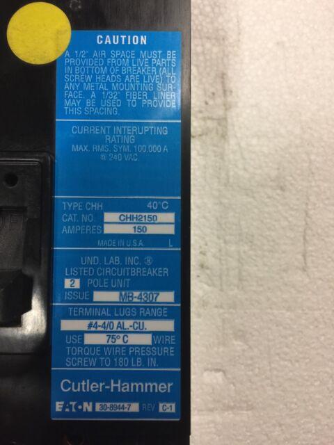 Cutler Hammer Circuit Breaker 150 Amp 240v 2 Pole CHH2150 | eBay