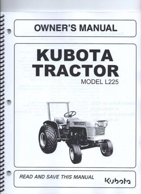 kubota l225 tractor operator s manual w maintenance ebay rh ebay com Kubota L3940 Schematic Kubota L3940 Schematic