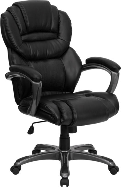 Best Swivel Executive Leather Office Desk Chair High Back Wheel W/ Arms  Brn17557