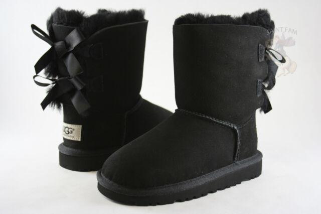 Kids UGG Australia Bailey Bow 3280K Black Sheepskin 100% Authentic Brand New