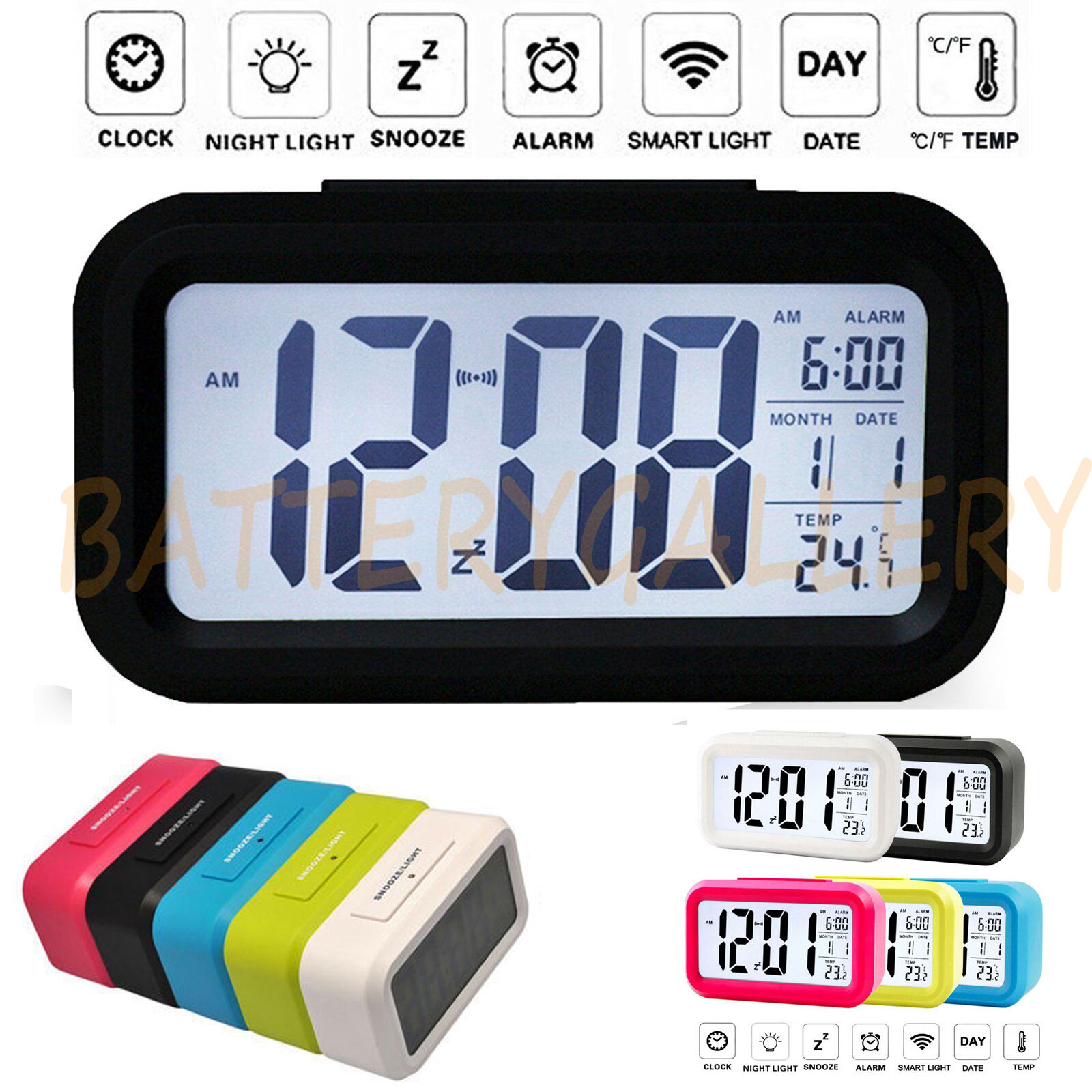 Led calendar clock ebay digital snooze led alarm clock backlight time calendar thermometer temperature amipublicfo Gallery