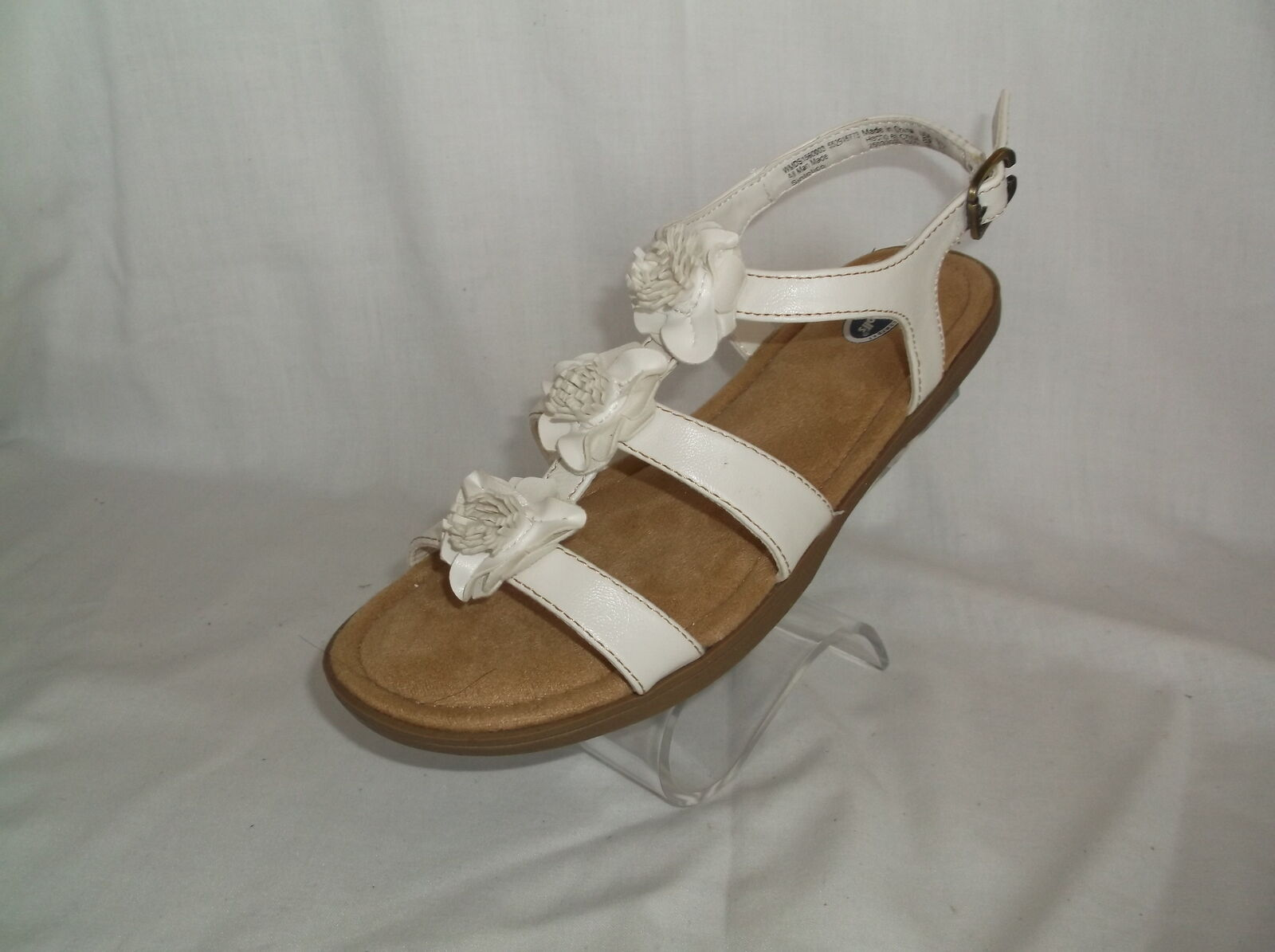 Womens Dr Scholls Bamboo White T Strap Comfort Sandals With Flowers