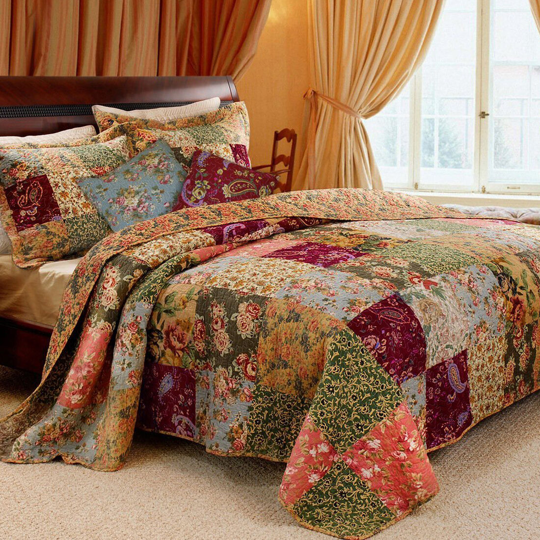 Vintage King Size Patchwork Quilt Country Style Bedding With ... : king size patchwork quilt - Adamdwight.com