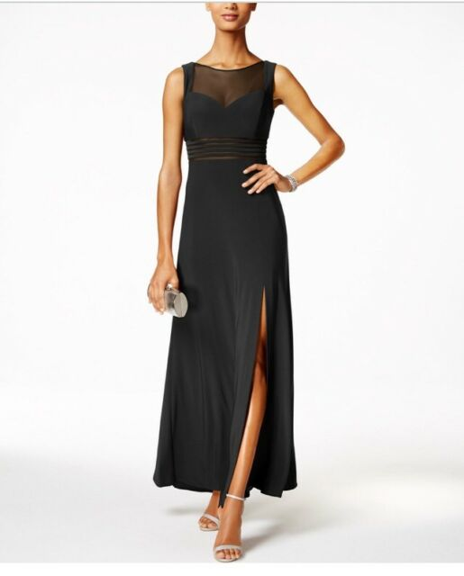 Nightway Black Women\'s Size 14p Petite Illusion Mesh Ball Gown | eBay