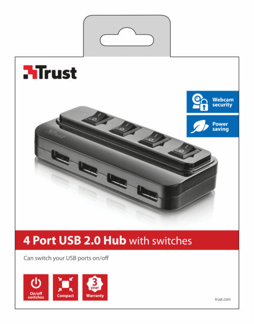 TRUST 20619 4 PORT USB 2.0 HUB WITH INDIVIDUAL PORT SWITCHING