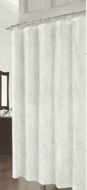 RICHLOOM DOTTIE SILVER EMBROIDERED SCROLLS FABRIC SHOWER CURTAIN