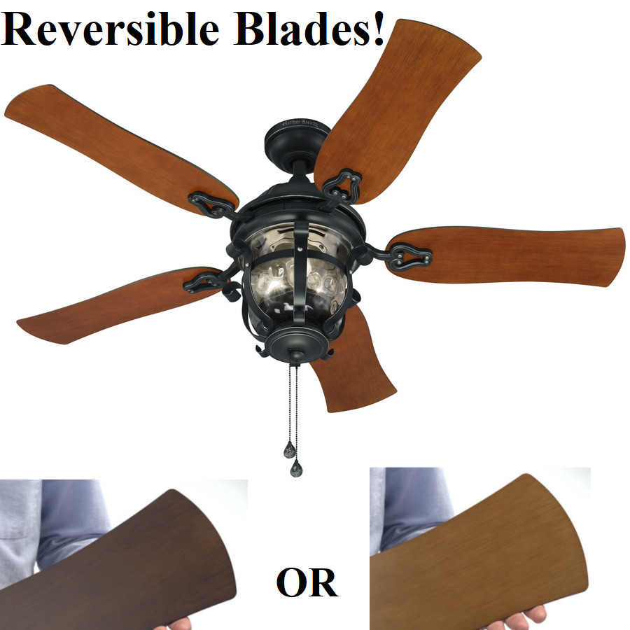 Harbor breeze ceiling fan ebay 52 ceiling fan with light kit aged iron outdoor indoor downrod or flush mount aloadofball Choice Image