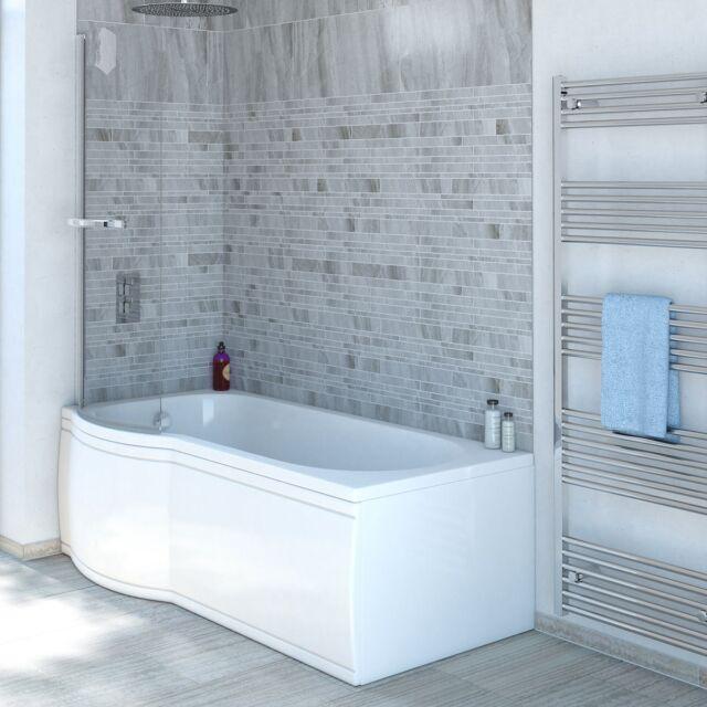 11 Jet P Shaped Whirlpool Shower Bath Screen With Towel Rail Panel Jacuzzi Spa
