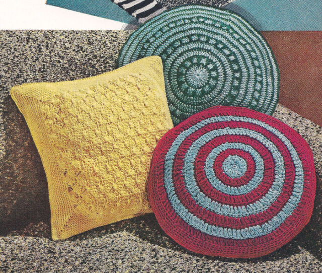 Vintage Crochet Pattern Pillow Covers Round Square Ebay