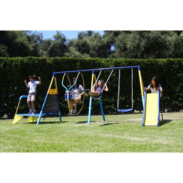 Metal swing set outdoor garden play for kids home for Mini swing set