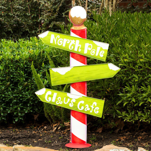 Christmas Sign Decorations: North Pole Christmas Sign Outdoor Holiday Decoration