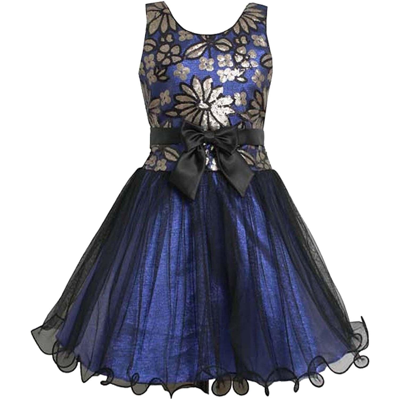 Big Girls Tween 7 16 Royal Blue Sequin Tulle Social Party Dress