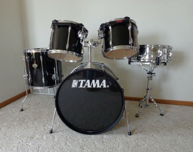 TAMA ROCKSTAR DRUM SET 5 Piece Star Cast Mounts Black Finish New Condition