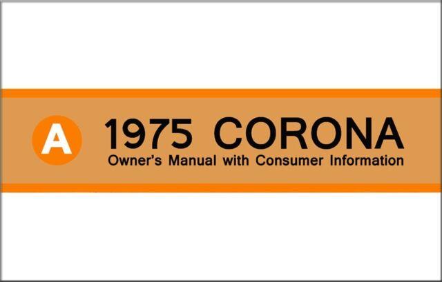 1975 toyota corona owners manual user guide reference operator book rh ebay com 1972 Toyota Corona 1970 Toyota Corona