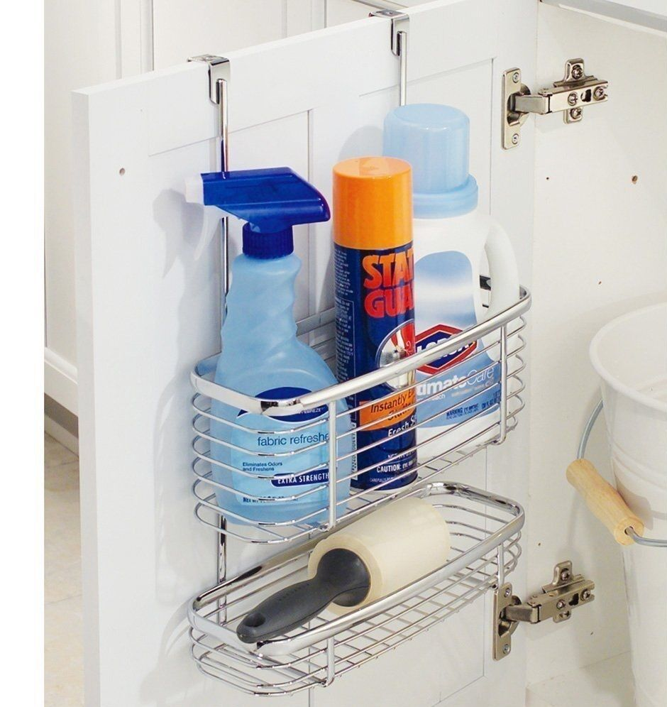 Chrome Caddy Hook Over Door Basket Hanging Shower Kitchen Tidy Bin ...