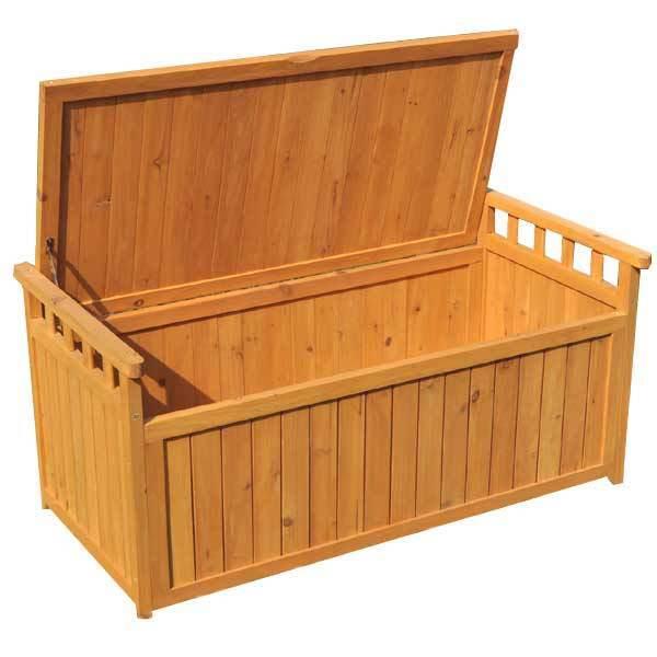 Garden Storage Bench Wooden Chest 2 Seater Lift Lid