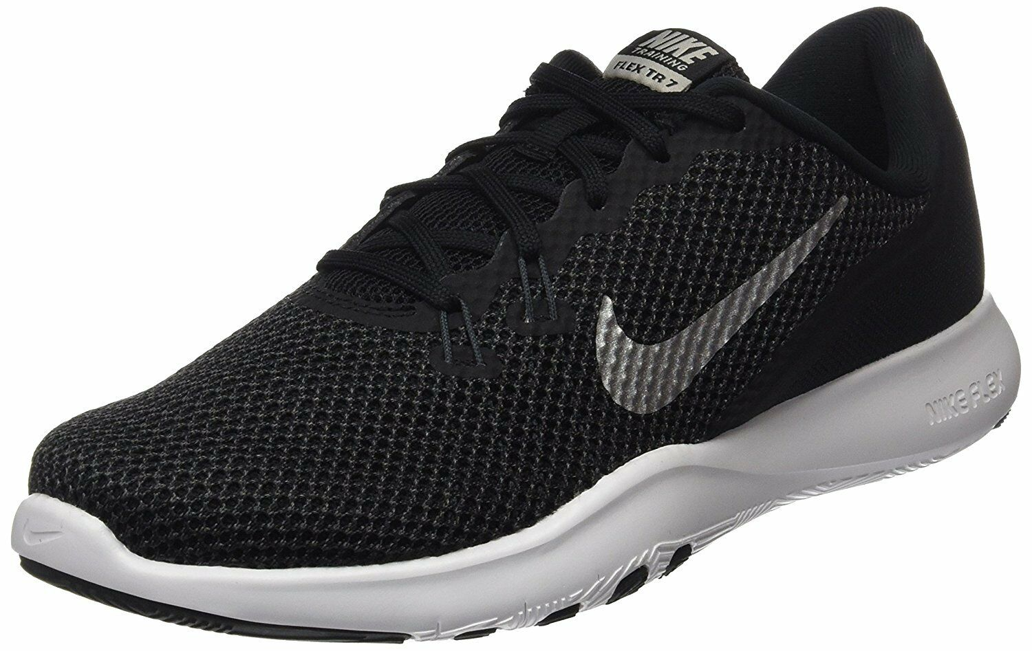 Nike Womens Flex 7 Cross Trainer Black/Metallic Silver/Anthracite/White 898479