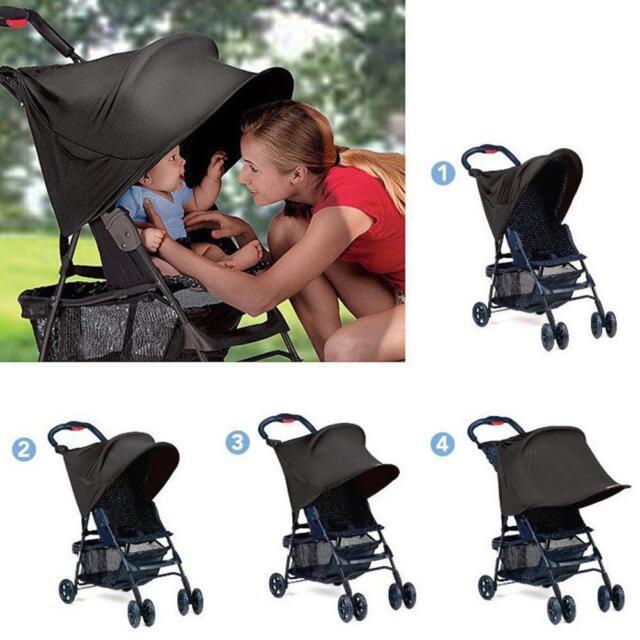 Black Universal Baby/Child Pushchair Stroller Pram Buggy Sun Shade Canopy Cover 4