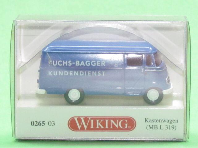 "1:87 Wiking 026503 Kastenwagen (MB L 319) ""Fuchs Bagger Kundendienst"""