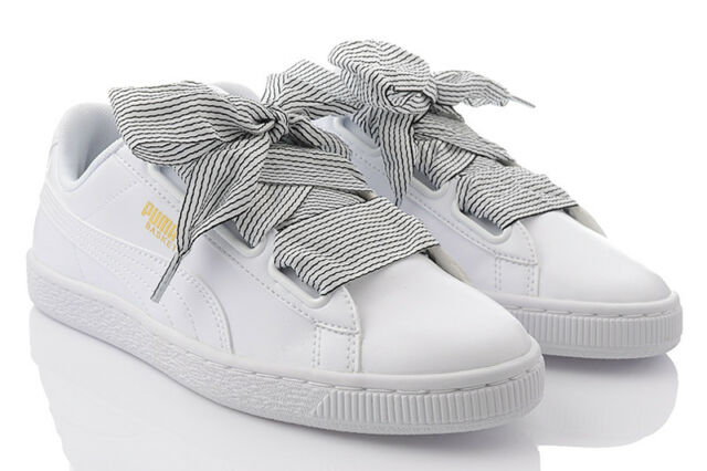 Puma Basket Heart Wns Bow Low White Women Shoes Sneakers Trainers 365198 03