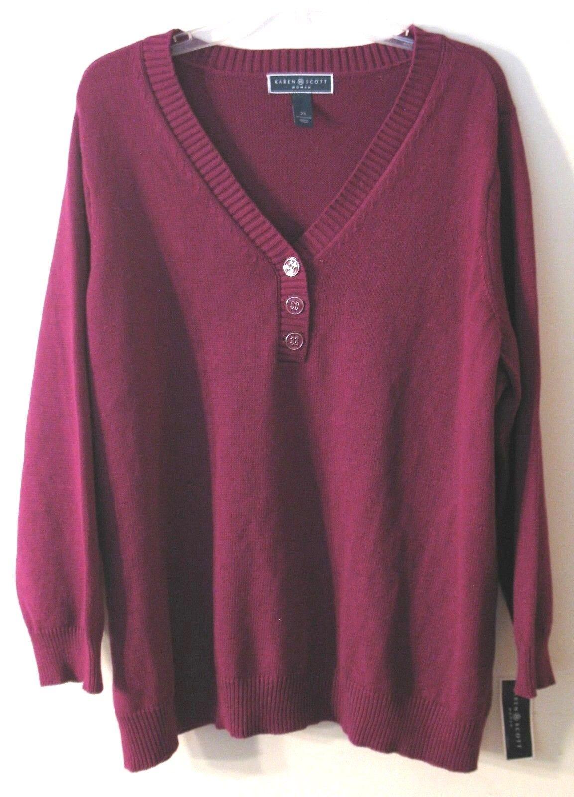 Women Plus Size Karen Scott Purple Long Sleeve Henley Sweater 1x ...