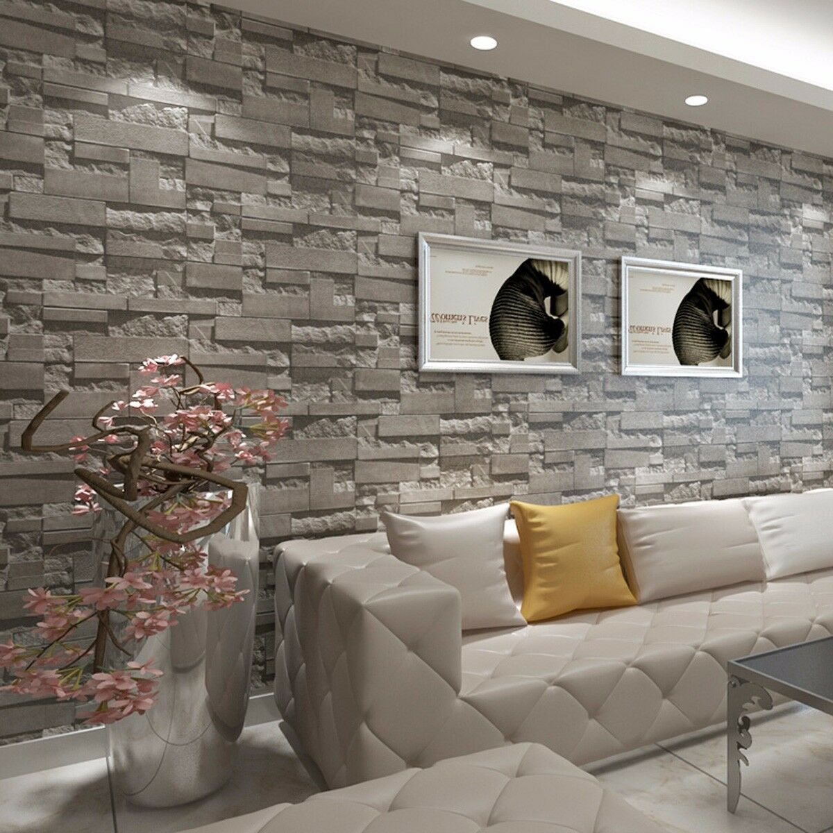 Modern D Brick Wallpaper Bedroom Living Room Wall Background TV - 3d brick wallpaper living room