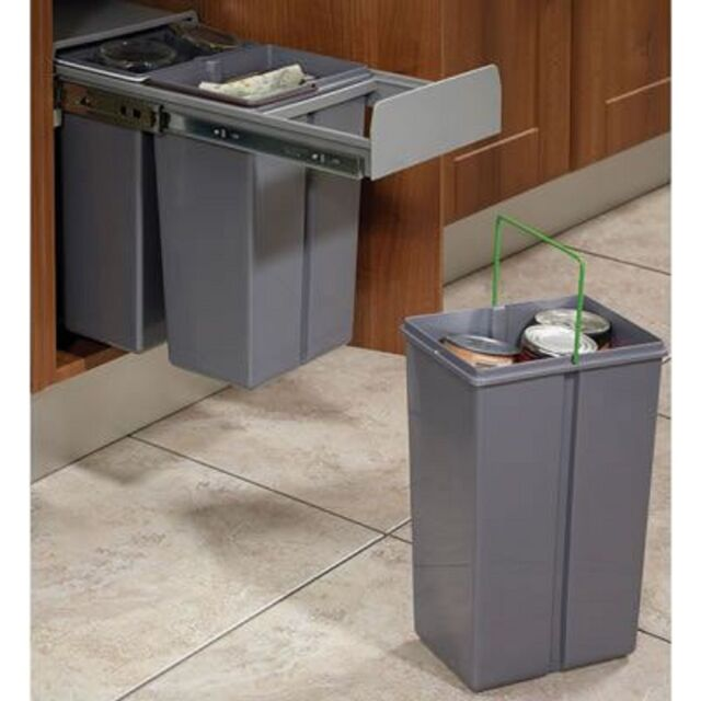 Kitchen Recycling Bins For Cabinets: Recycle Bin Pull Out Kitchen Integrated Cupboard Cabinet