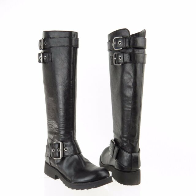 Women's Nine West Aragosta Shoes Black Synthetic Round Toe Boots Size ...
