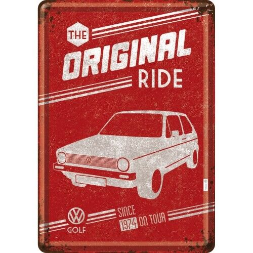 BLECHSCHILD 10271 - VOLKSWAGEN / VW GOLF - THE ORIGINAL RIDE - 10 x 14 cm - NEU