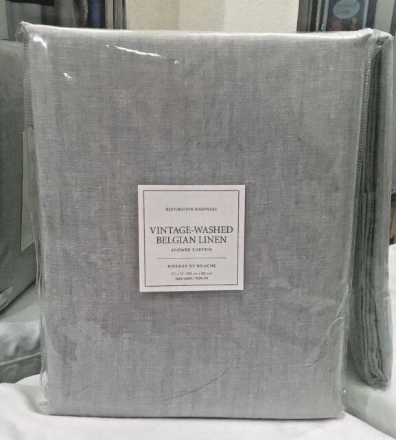 Restoration Hardware Vintage Washed Belgian Linen Shower Curtain ...