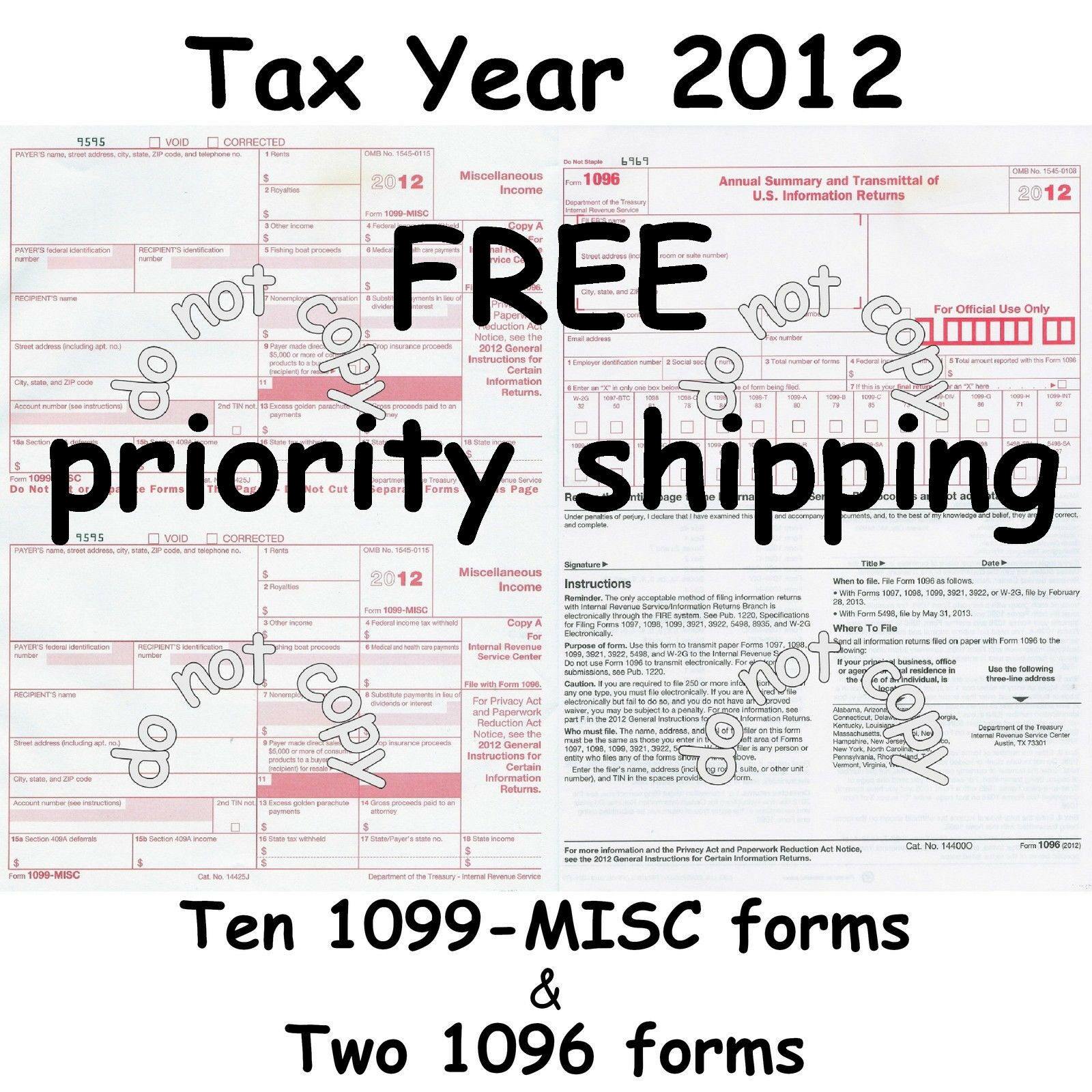 Ten 1099 misc miscellaneous income 2012 irs tax forms 2 1096 picture 1 of 5 falaconquin