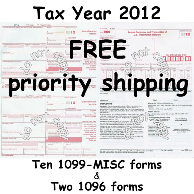 Ten 1099 Misc Miscellaneous Income 2012 Irs Tax Forms 2 1096