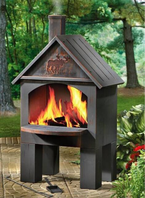 Outdoor Patio Deck Fire Pit Chiminea Cabin Cooking