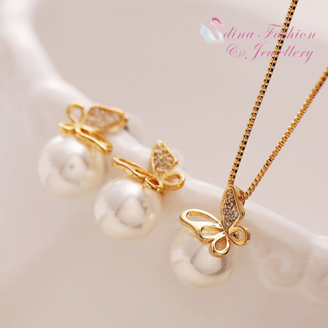 18K Yellow Gold Plated Simulated Pearl Stunning Butterfly Set Fashion Jewellery