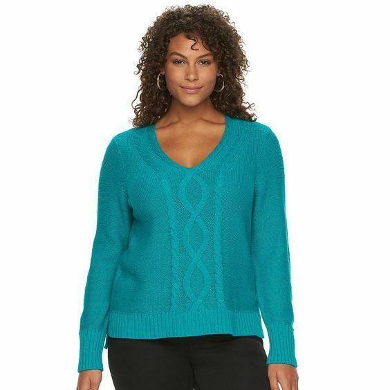 Chaps Women Sweater Size Plus 2x Teal Cable Long Sleeve V Neck Ebay