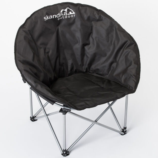 skandika Moonchair Camping Chair Portable Folds Stable Padded Garden Black New