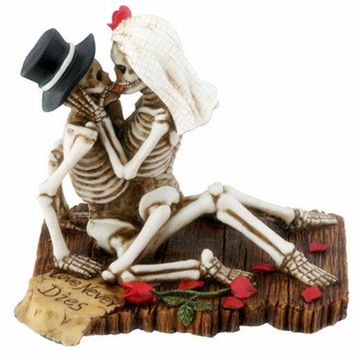 Love Never Dies Skeleton Halloween Wedding Cake Topper.bride Groom ...
