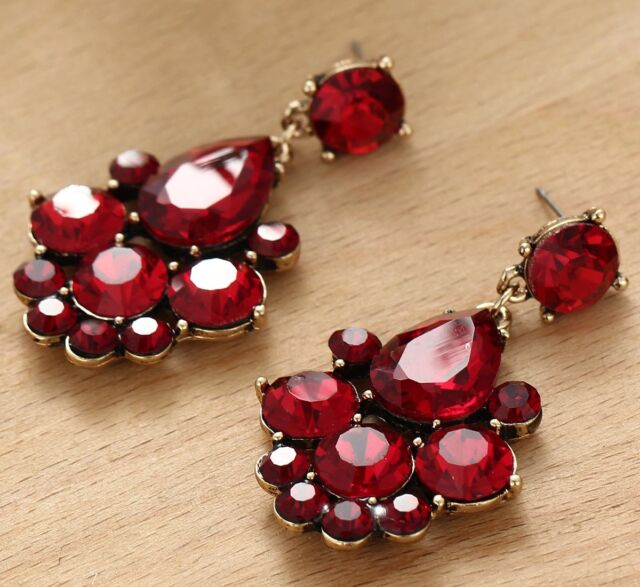lead crystal free drop swarovski nickel red earrings deep hoop gold black tone