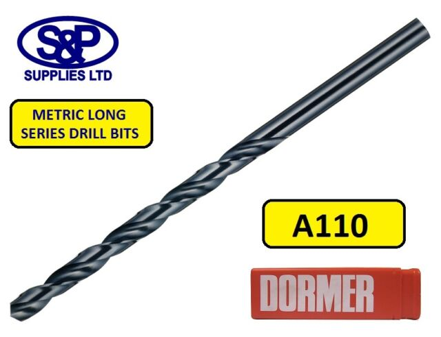 DORMER A110 HSS LONG SERIES DRILL BITS FOR STEEL / METAL 1.0MM TO 12.0MM METRIC