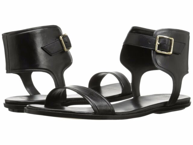 5.5M COLE HAAN BARRA SANDAL BLACK LEATHER WOMEN ANKLE STRAP OPEN TOE FLAT  SHOES