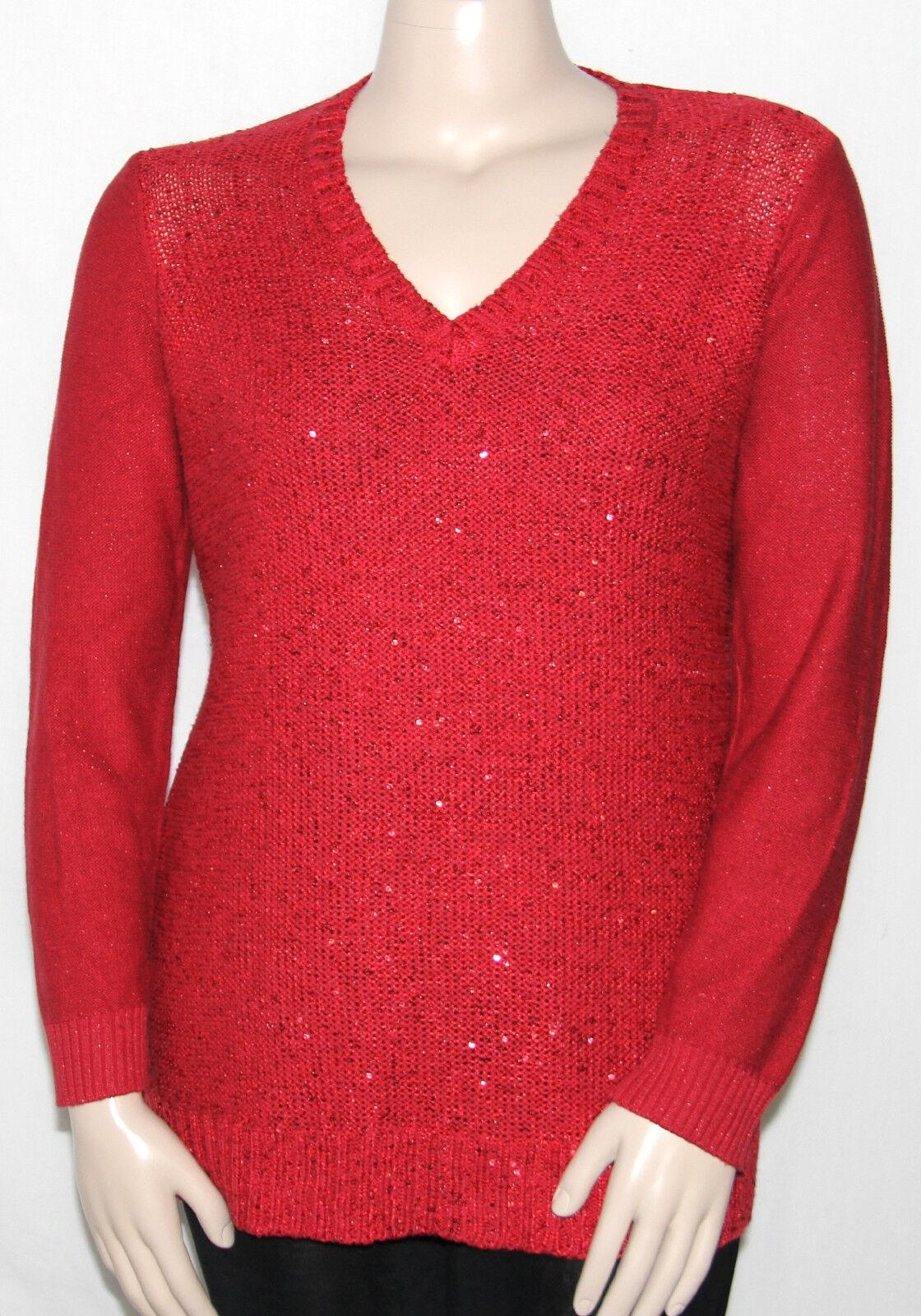 Charter Club Long Sleeve V Neck Metallic Sequin Sweater JJ Dark ...