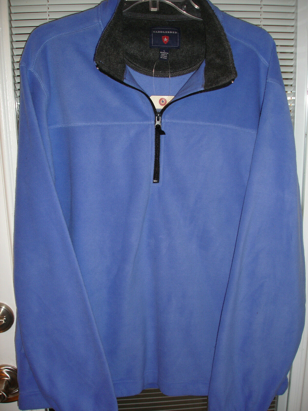 Saddlebred 1/3 ZIPPER Fleece Solid Blue Pullover Mens Sz Large ...