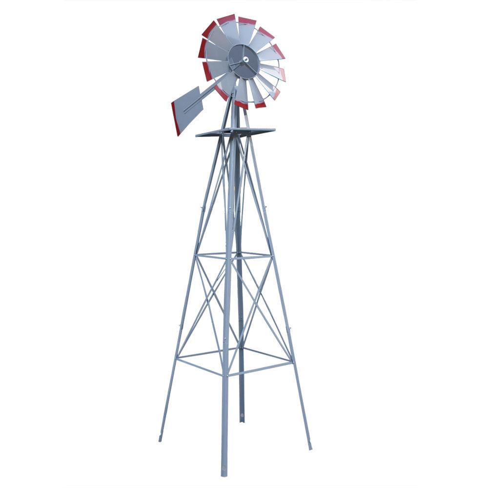 8ft green metal windmill yard garden wind mill weather rust