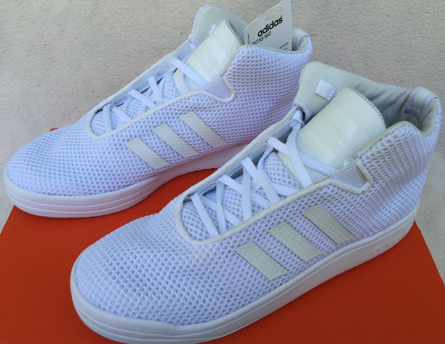 Adidas Veritas Mid B34530 Triple White Casual Basketball Sneaker Shoes Men's 9.5