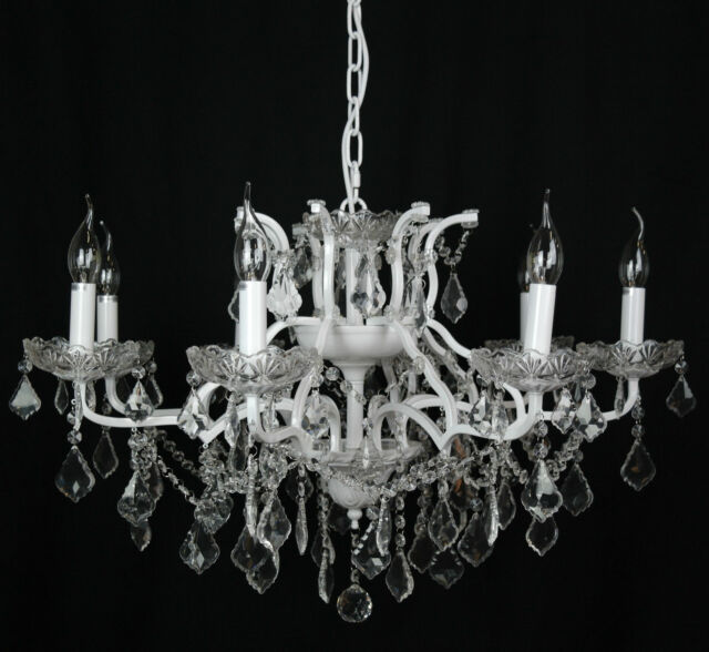 Large 12 arm branch antique white shallow french cut glass french style large white 8 arm branch french shallow cut glass chandelier aloadofball Gallery