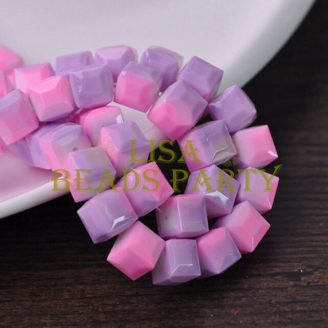 New 10pcs 10mm Cube Square Glass Loose Spacer Coloried Beads Light Pink&Purple