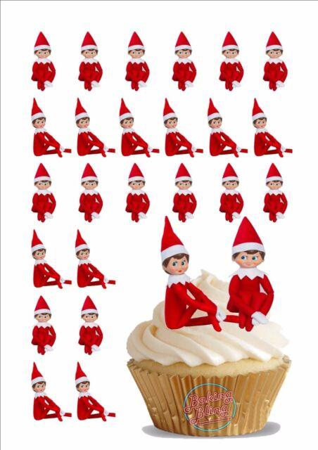 Edible Cake Decorations Xmas : 30x4cm Novelty Elf on The Shelf Edible Cake Toppers Decorations Christmas Xmas eBay