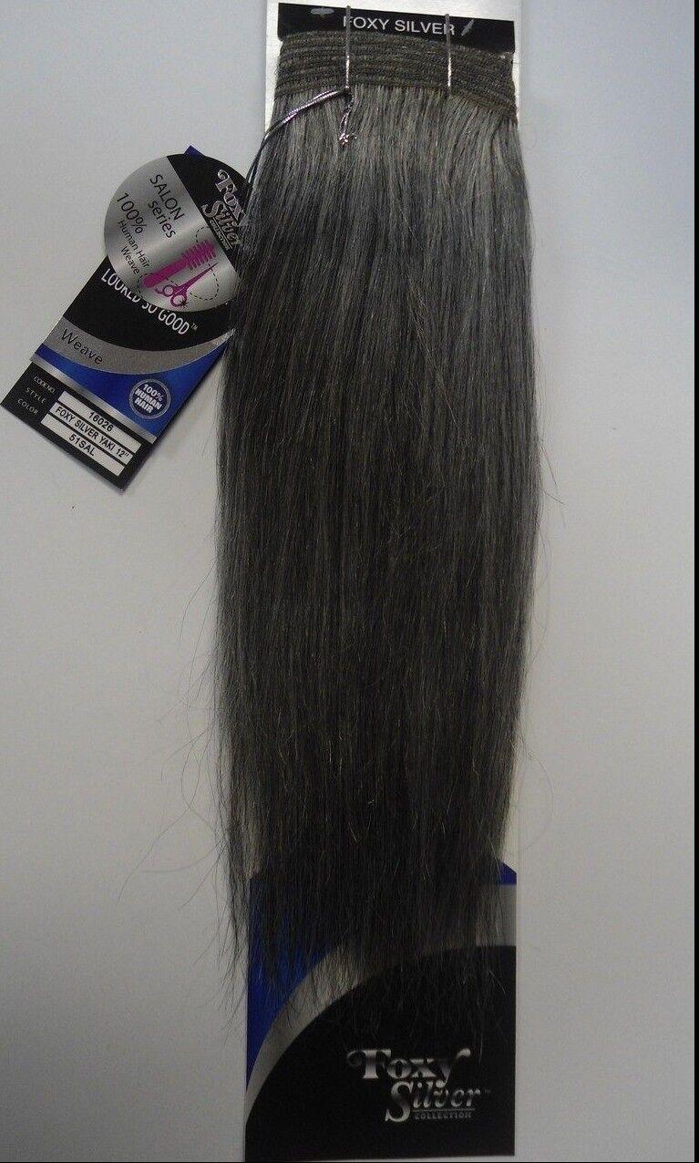 Foxy Silver 12 Salt N Pepper 100 Human Hair Straight Weave Grey