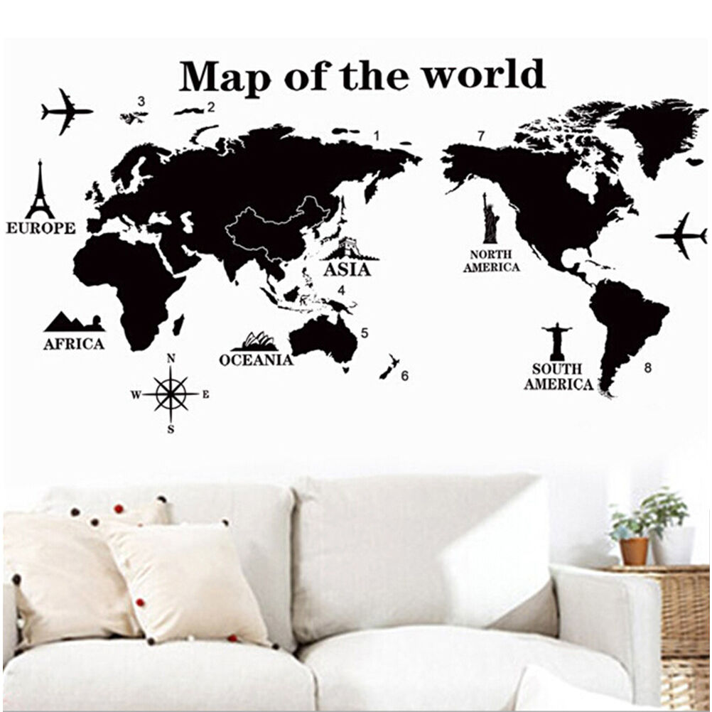 Diy world map removable pvc vinyl art room wall sticker decal mural picture 1 of 10 gumiabroncs Images